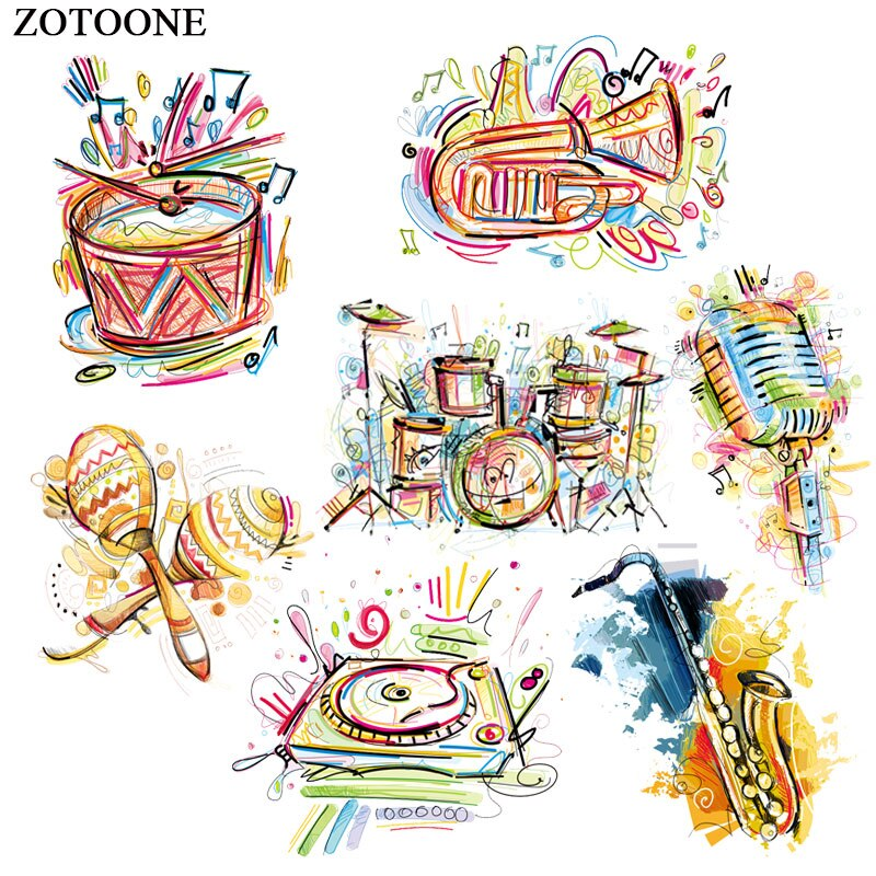 Цветные музыкальные нашивки ZOTOONE с помощью утюга, милые наклейки для детей, наклейки для одежды, футболок, термотрансферные аксессуары, Аппл...