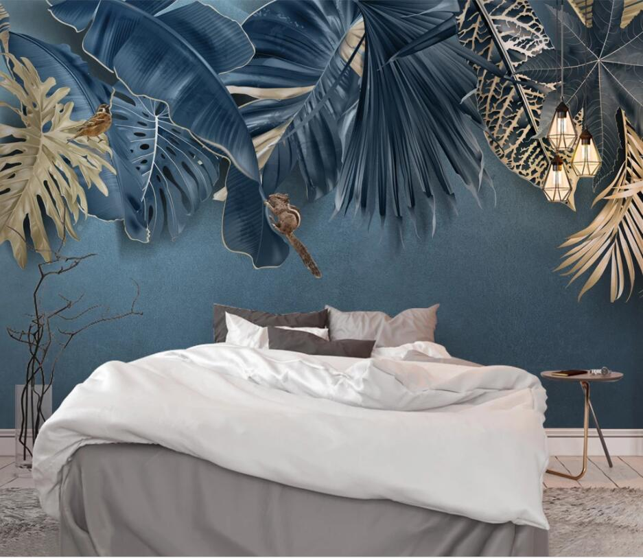 Papel tapiz personalizado en 3d de Bacal, papel tapiz nórdico minimalista, azul, Planta Fresca tropical, fondo, papeles tapiz decoración del hogar, papel de pared