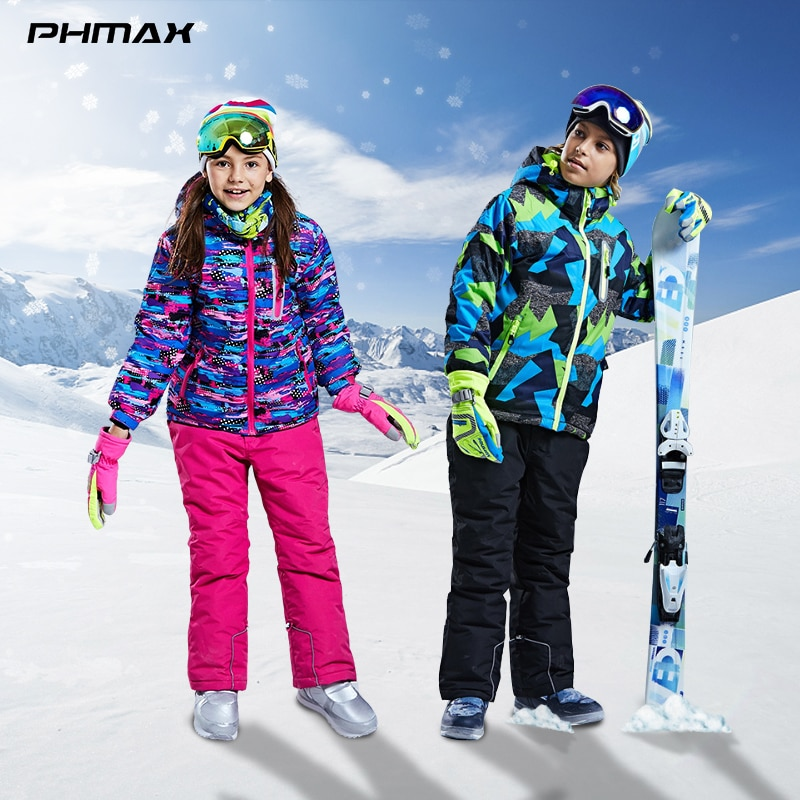 PHMAX الشتاء الاطفال تزلج سترة مقاوم للماء رشاقته الدفء الأطفال ملابس التزلج في الهواء الطلق التزلج على الجليد ملابس الفتيات الفتيان