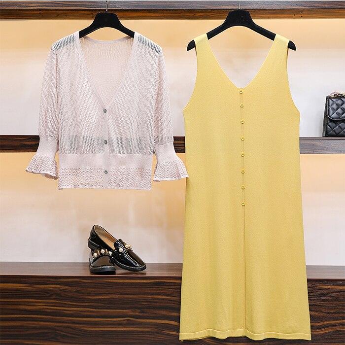 AUMENTO DE LA obesividad Mm verano suelto medio-largo cuello en V chaleco vestido para mujeres embarazadas falda pequeño Cardigan Traje dos- conjunto de piezas