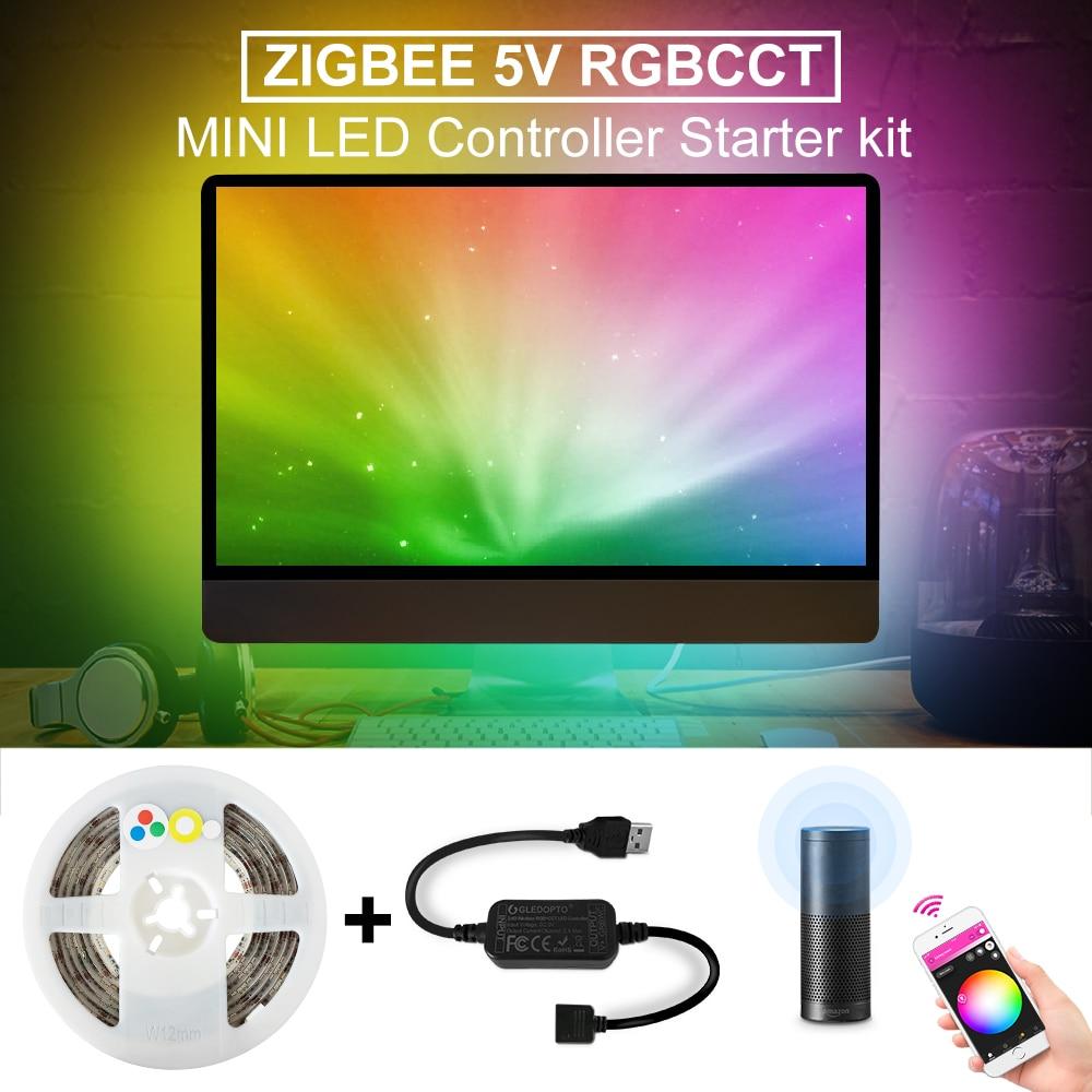 ZigBee led rgbcct Controlador mini smart tv tira de luz 5V USB controlador de control de voz APP control zigbee Centro Eco smartthings