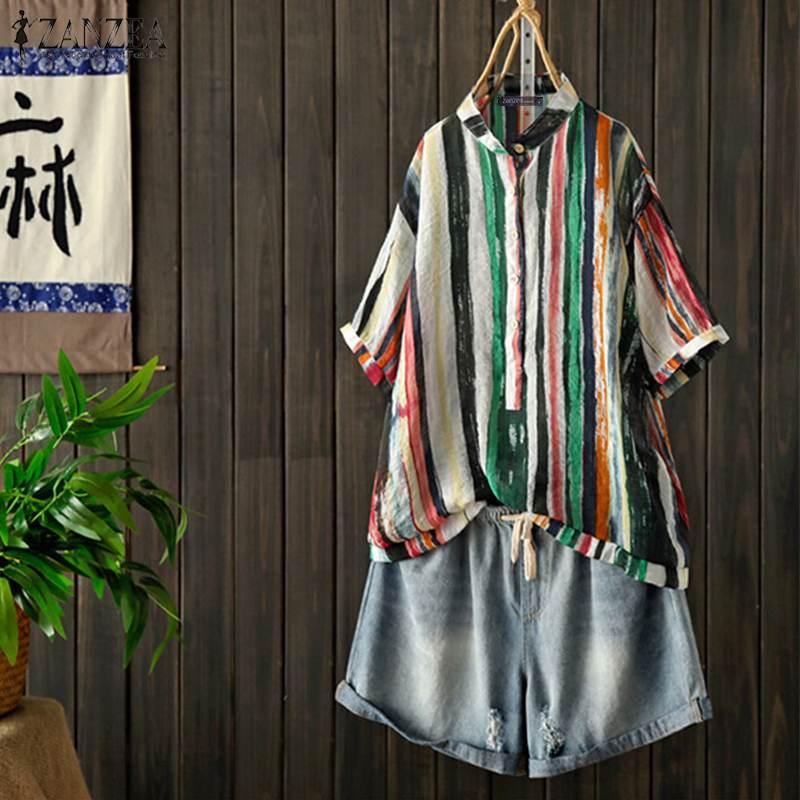 2021 zanzea vintage listrado topos blusa feminina verão casual botão 3/4 manga camisas femininas impresso blusas plus size túnica 5xl