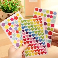 6 simple color kindergarten reward stickers cute colorful dots love five pointed star album decoration stickers childrens gifts