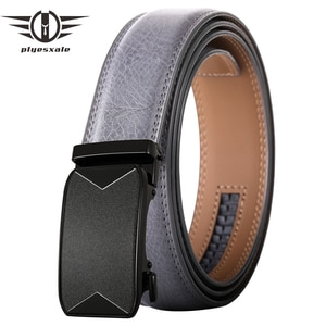 Plyesxale New Fashion Luxury Automatic Buckle Belt For Men High Quality Black Brown Gray Mens Cowhide Genuine Leather Belt B638