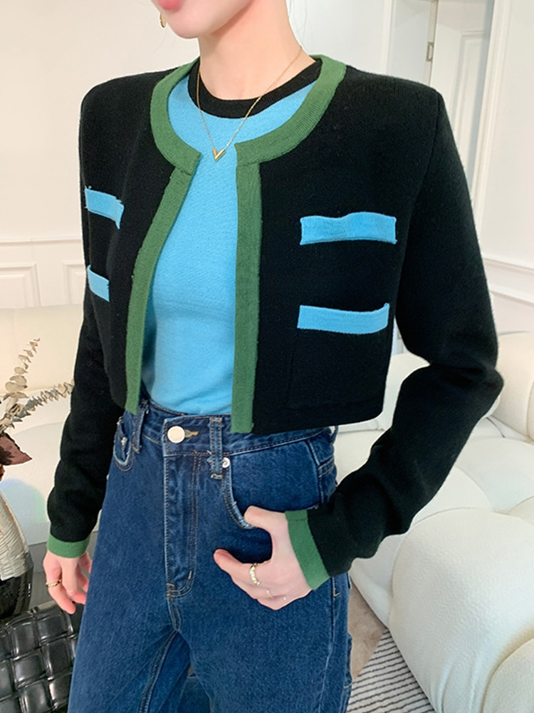 Womens Slim-fit Crew Neck Knitted Vests Cardigan Knitted Coat Casual Contrast Color Two-piece Suit enlarge