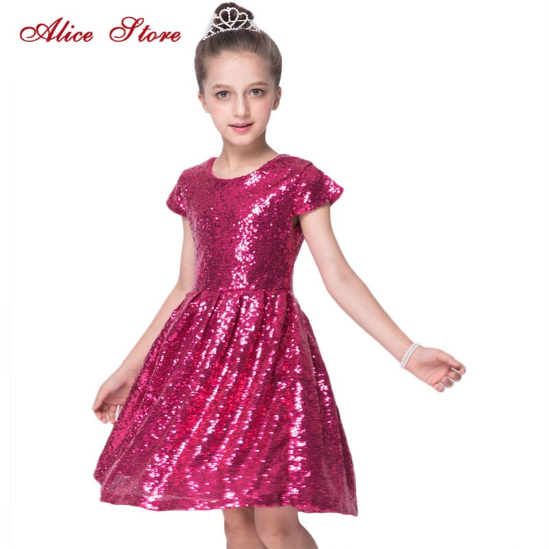 Alice 2019 INS Fashion Girls Dress Sequin Short Sleeve Dress Party Dress Shiny Princess Boutique Clothing Golden Rose R