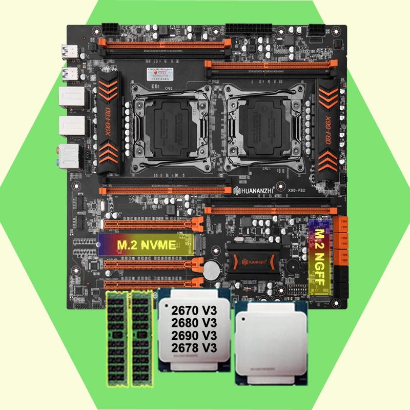 HUANANZHI X99-F8D وحدة المعالجة المركزية المزدوجة اللوحة الأم مع 2 M.2 SSD فتحة المزدوج Xeon المعالجات 2670 2678 V3 2690 2680 V3 16G RAM DDR4 REG ECC