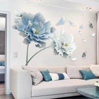 large white blue flower lotus butterfly removable wall stickers 3d wall art decals home decor mural art for living room bedroom