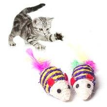 2Pc Mini Maus Katze Scratch Spalt Beißen Spielzeug Falsche Maus Haustier Katze Interaktive Spielzeug Mäuse Spielen Spielzeug für Katzen mit Bunte Feder