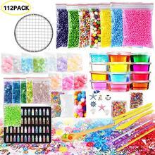 112Pack Schleim, Der Kit Bunte Schaum Ball Granulat Flache Perlen Gold Pulver Candy Papier Polymer Clay Set kinder DIY Material