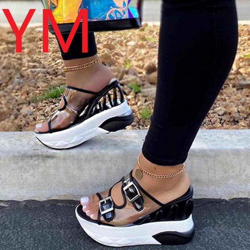 ¡Oferta de verano 2020! Zapatillas de cuña de PVC a la moda para mujer, Sandalias con tacón superalto con hebilla de cinturón transparente, sandalias de plataforma para mujer de talla grande 43