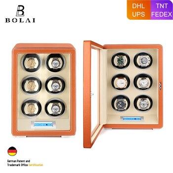 Watch Winder Safe Box Luxury Automatic Watches Storage Box Battery Wood Leather Mabuchi Motor LCD Touch Screen Watch Winding