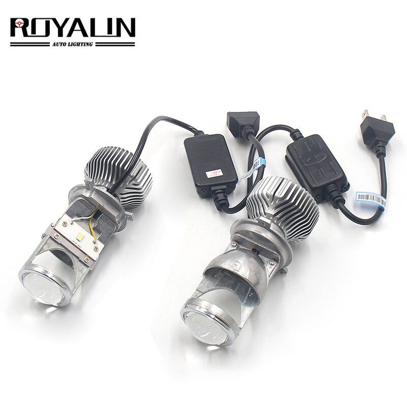 ROYALIN Mini H4 Bi LED Projector Headlights lens 9003 1.5 inch 60W 5500K Waterproof Car Motorcycle Headlamp Retrofit