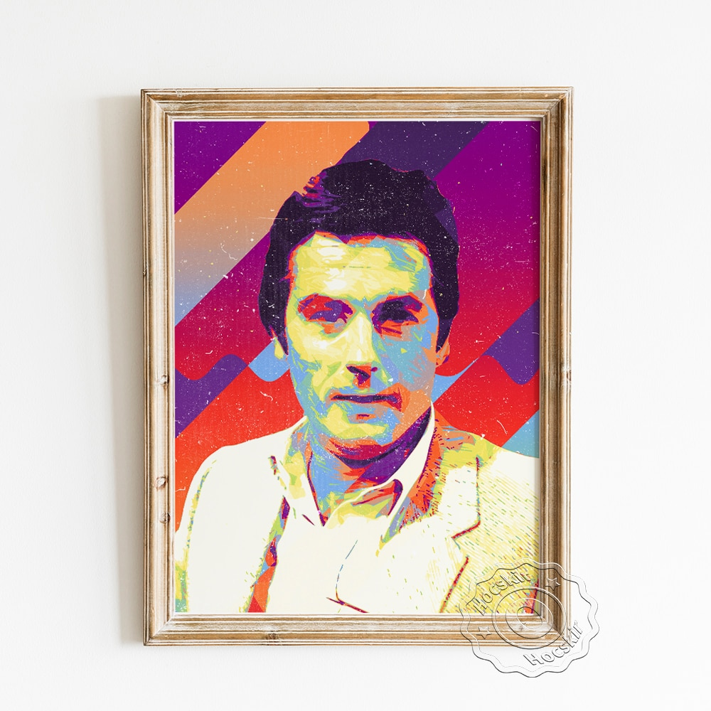 El Actor francés Alain Delon moderno cartel favorito hombre guapo arte película...