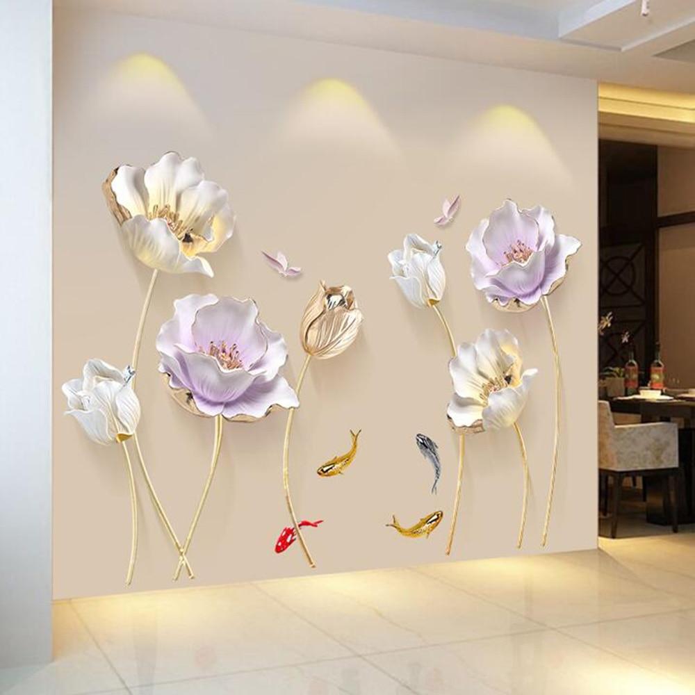 Estilo chino flor 3D papel tapiz pegatinas de pared sala de estar dormitorio baño decoración del hogar cartel de decoración