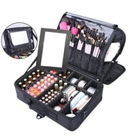 high quality make up bag professional makeup case makeup organizer with mirror cosmetic case large capacity storage bags