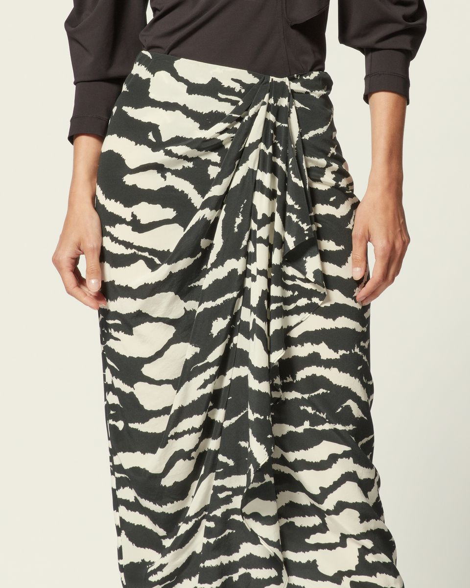 Faldas de seda, estampado de cebra negra, Falda MIDI asimétrica, falda drapeada frontal con volantes, faldas de moda 2020ss