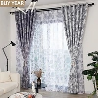 modern simple curtains for living dining room bedroom northern european style printing and matching hemp white tulle curtains