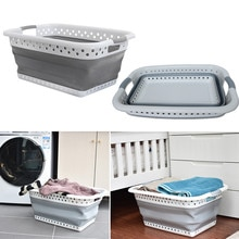Plastic Large Foldable Hamper Basket Laundry Basket Laundry Bucket Save Space Bathroom Car Storage Basket Creative Home #YL10