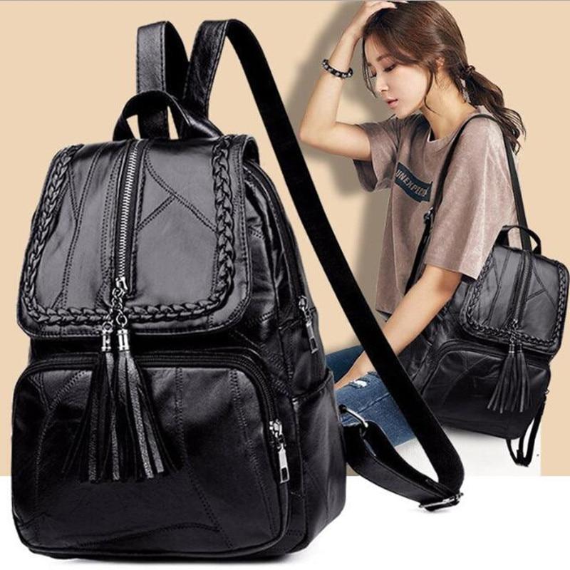 AliExpress - Women's PU leather backpack School bag classic black waterproof travel multi-function Shoulder bag