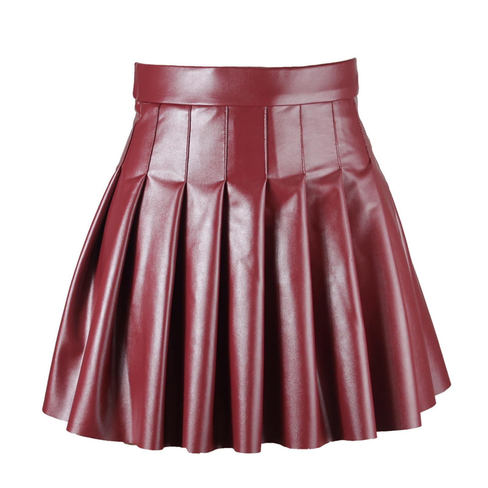 Женская плиссированная юбка из искусственной кожи с высокой талией, Женская однотонная расклешенная мини-юбка с боковой невидимой молнией,...
