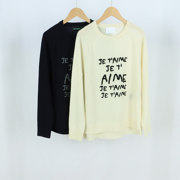 Early Autumn 2021 New Round-neck Long-sleeved Embroidered Letter Solid Color Women's Wear Street Hipster Knitted Sweater enlarge
