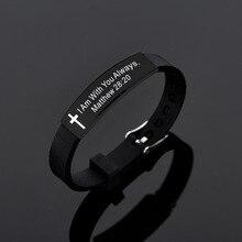 Bracelet en Silicone Bible Bracelets hommes croix noire longueur réglable Bracelets Bracelet Christian philippiens 413