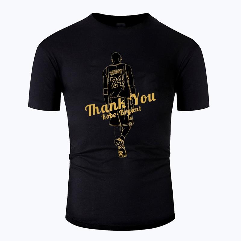100% Cotton Kobe Bryant Memorial Personality Thank You Print Black T Shirt Men Women Summer Short Sleeve Tee Brand Clothing