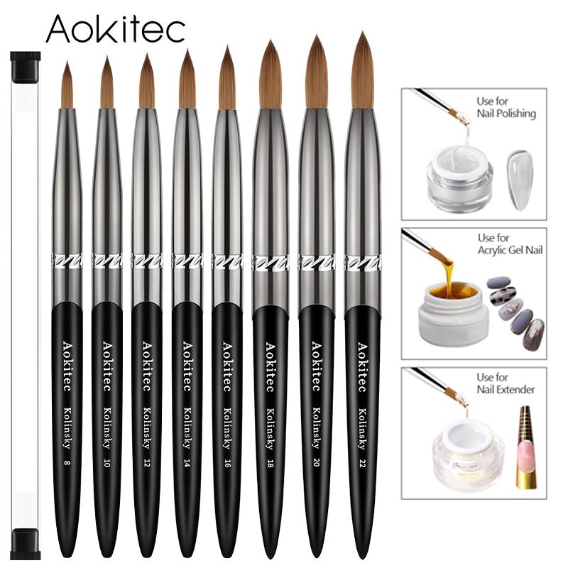 AliExpress - Kolinsky Acrylic Nail Brush Set Black Brass Barrel Pure Kolinsky Hair Round Nail Art Brush for Manicure Tool Size 8-22