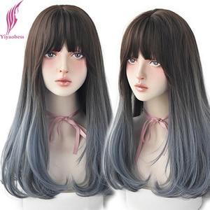 Yiyaobess 24 дюймов черный парик Голубой с эффектом омбре волнистые волосы, белый, красный, коричневый цвет Длинные Синтетические парики для Для женщин синтетических Naturales