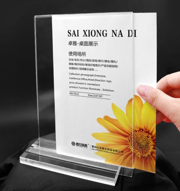 Acrylic Sign Holder A4 Clear Price Tag Table Sign Holder Restaurants Menu Display Stand Ad Poster Frame 2pcs недорого