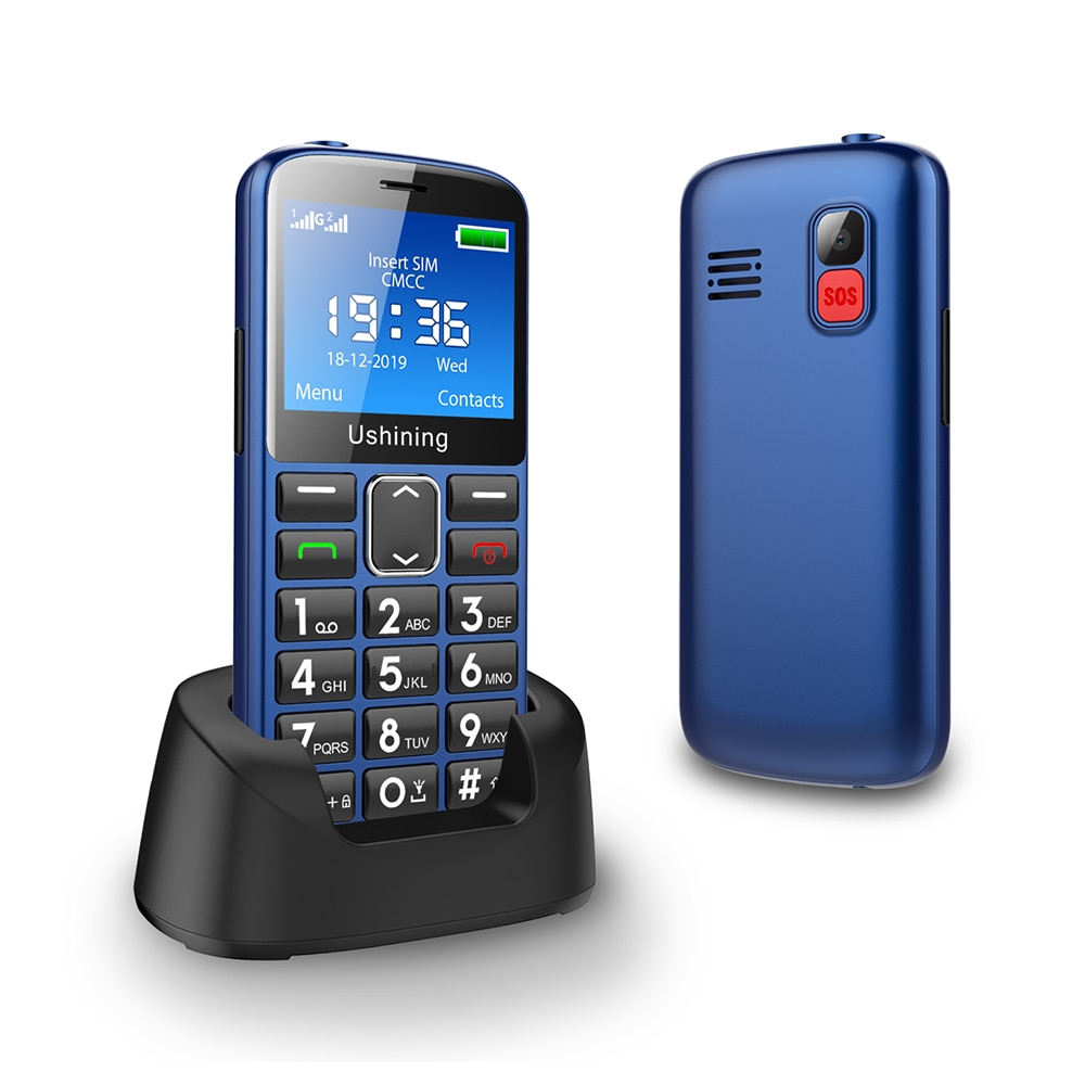 2G Big Button Mobile Phone for Elderly, Unlocked Senior Mobile Phone With SOS Emergency Button,HAC Compatible Charging Dock-BLUE