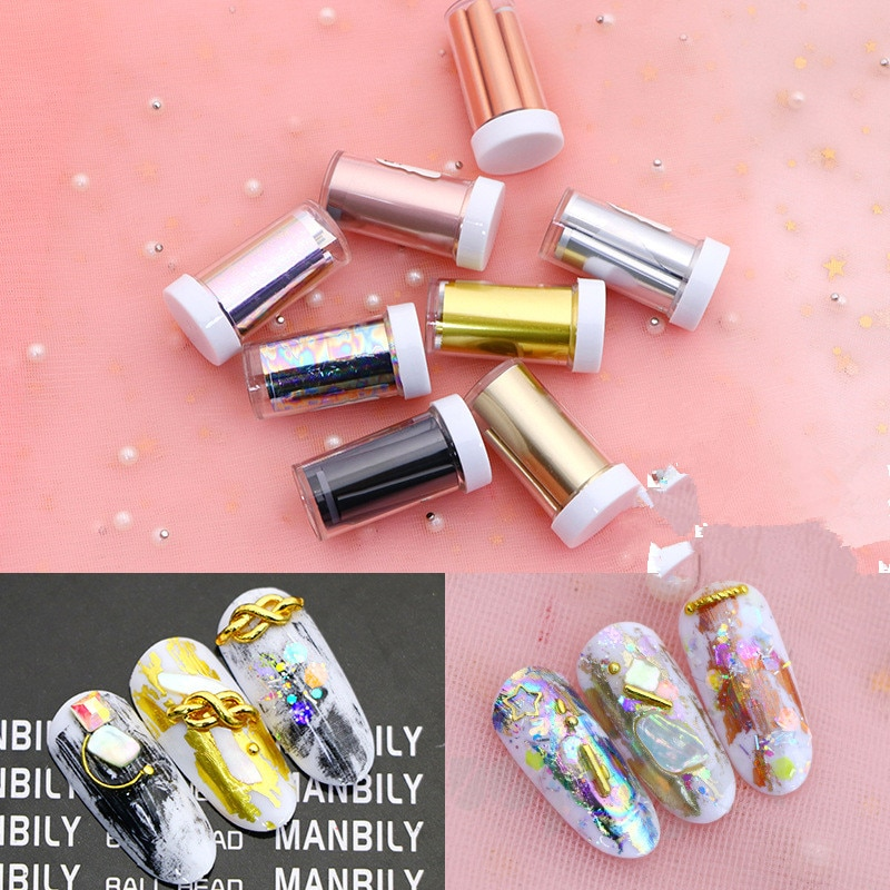 Women Shiny Nail Foil Gold Silver Laser Manicure Nail Art Transfer Sticker Tips Nail Art Tools Acces
