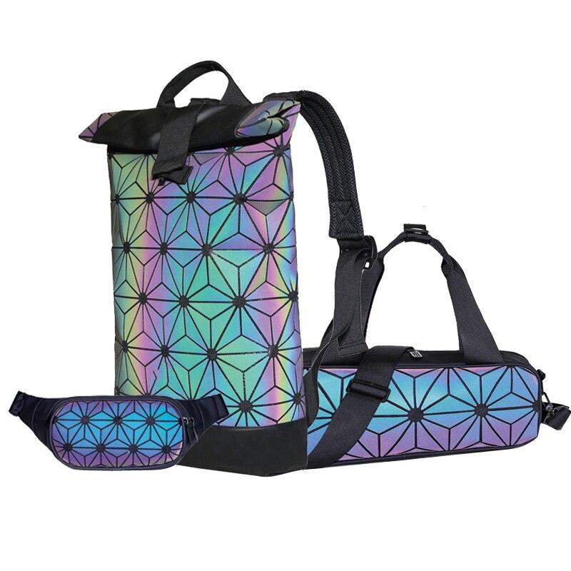 Комплект светящихся топов и рюкзаков, модный голографический Комплект ночного видения с геометрическим рисунком