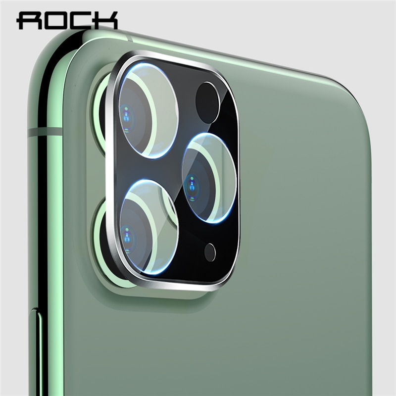 ROCK 2PCS lente de cámara Protector de pantalla para iPhone 11 Pro Max Protector 3D película de vidrio de aluminio Metal Protector de la caja de la lente