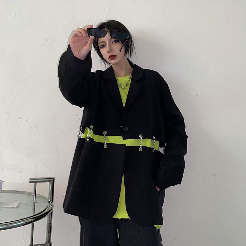 جوث هاراجوكو سترات نسائية تصميم سلاسل معدنية جاكيتات محززة ملابس خارجية ملابس علوية مفتوحة للفتيات فضفاضة Y2K سترة LT336S50