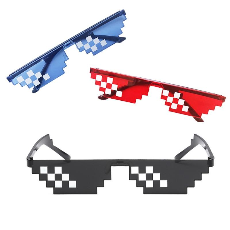 Thug Life Mosaic Glasses Sunglasses Men Women 8 Bit Coding Pixel Trendy Cool Super Party Funny Vinta