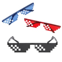 Thug Life Mosaic Glasses Sunglasses Men Women 8 Bit Coding Pixel Trendy Cool Super Party Funny Vinta