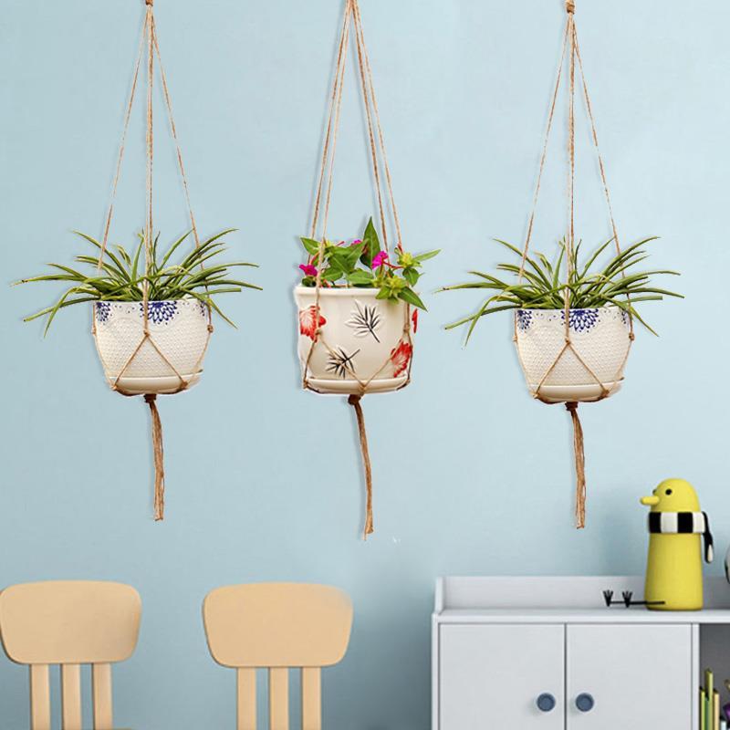 Nova mesa planta artesanal corda de cânhamo trançado gancho pote de vidro terrário horticultura greening presentes vasos de flores diy jardim