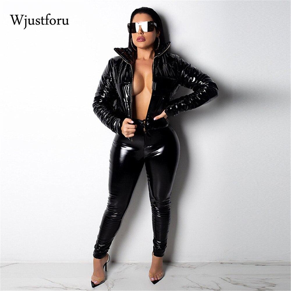 Wjustforu de cuero de invierno las mujeres chaqueta Streetwear cálido Pu chaqueta de plumas de abrigo de manga larga de Color sólido Parka Tops prendas de vestir exteriores