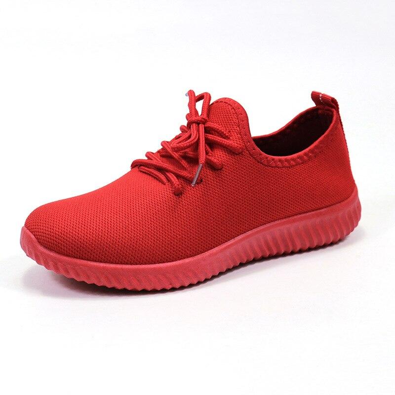 Bleu à lacets respirant coureur sport baskets femmes loisirs respirant maille en plein air Fitness course accrue baskets chaussures