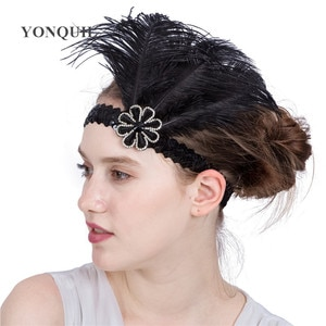 Woman Elastic Flapper Feather Headband Gatsby Headdress Charleston Rhinestone Headwear Ladies Fascinator Hair Accessories
