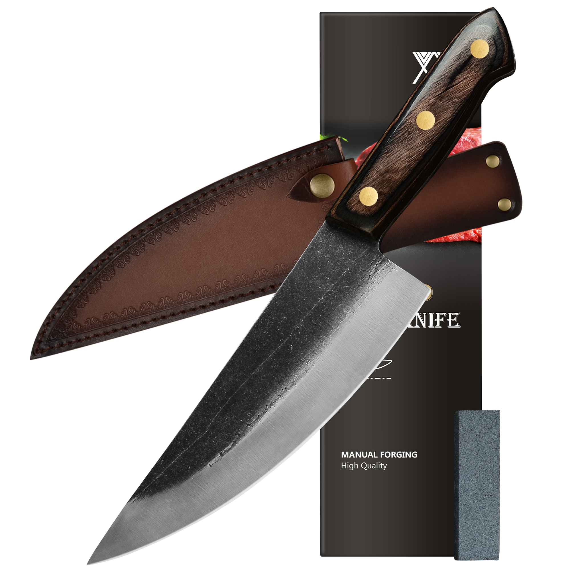 XYJ كامل تانغ 8 بوصة سكين الطاهي برو سكاكين المطبخ عالية الكربون الفولاذ المقاوم للصدأ تقطيع اللحوم الساطور السكاكين الخضار مع غمد