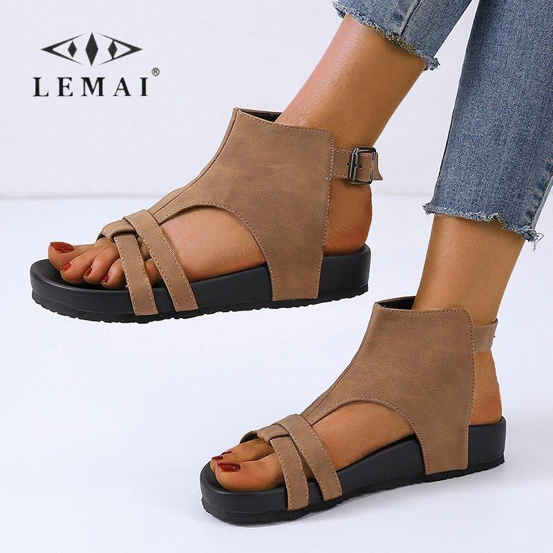 LEMAI Women's Summer Beach Gladiator Sandals Thick Bottom Belt Buckle Flat Shoes Casual Comfortable Peep Toe Sandals for Women