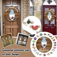 Panneau de porte de bienvenue Interchangeable  guirlande decorative pour porche  Halloween