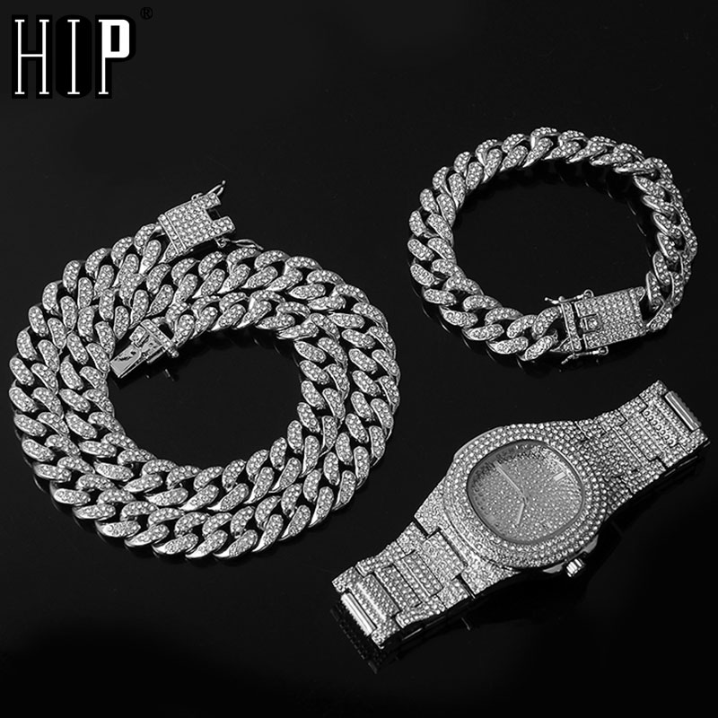 Necklace +Watch+Bracelet Hip Hop Miami Curb Cuban Chain Silver Color Full Iced Out Paved Rhinestones