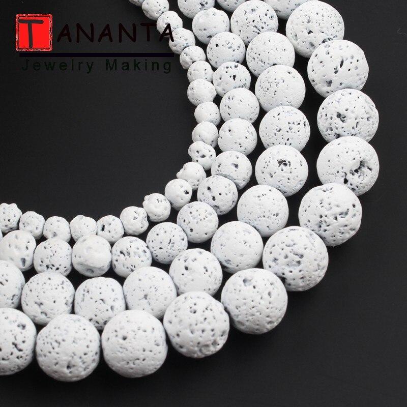 Perles de lave naturelles Nano caoutchouc blanc pierre volcanique perles de roche rondes pour la fabrication de bijoux Bracelet à bricoler soi-même collier 4 6 8 10mm 15 pouces