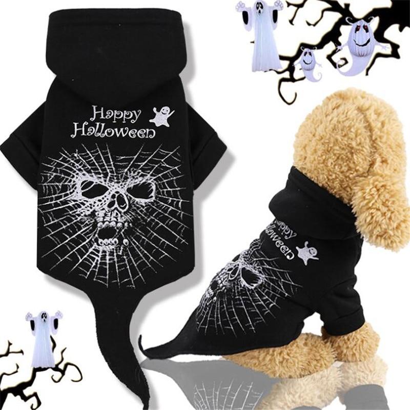 Mascota disfraz de perro o gato Halloween Cosplay ropa con calavera para perros pequeños medianos gatos negro cálido Chihuahua Teddy Hoodie para critmas