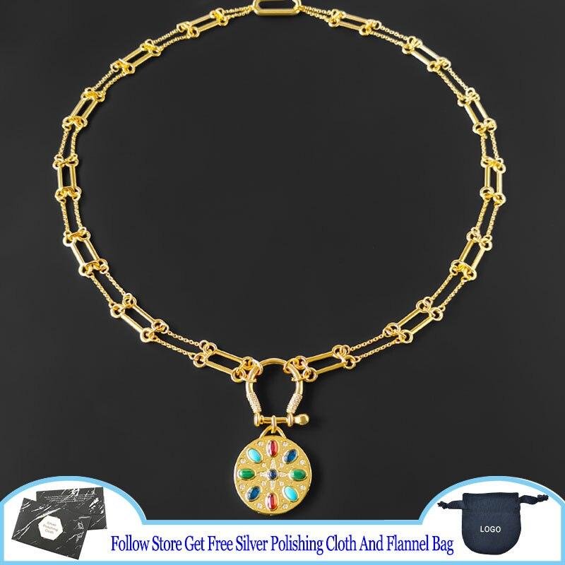 Ожерелье-из-серебра-925-пробы-с-разноцветными-камнями