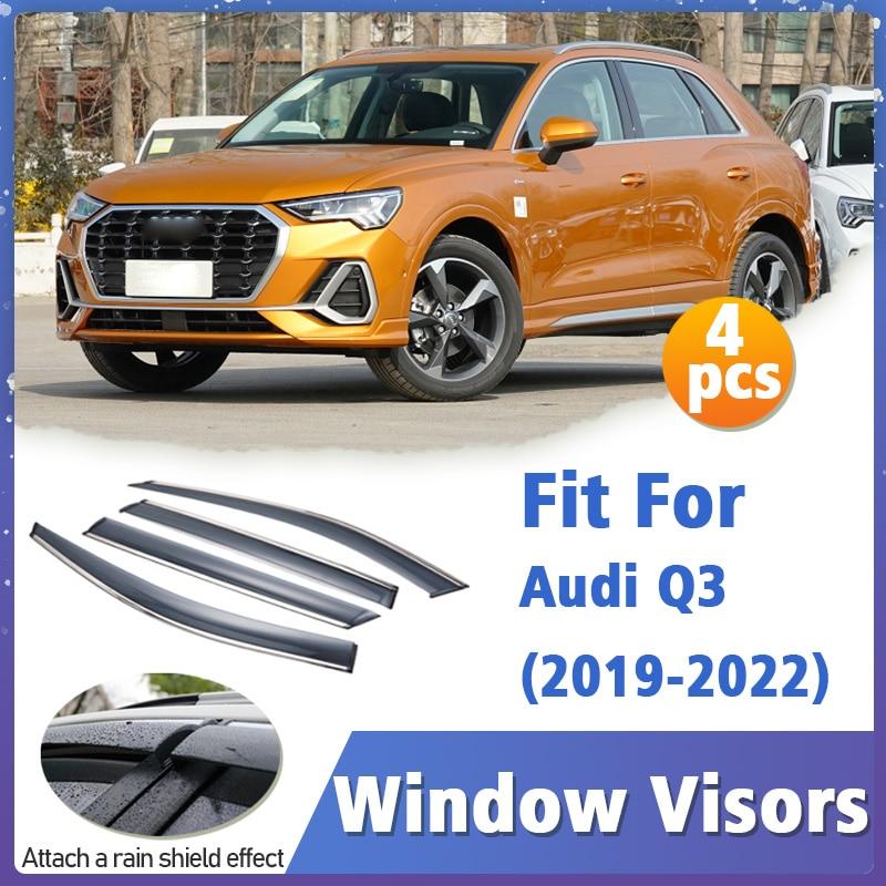 Window Visors Guard for Audi Q3 2019-2022 Visor Vent Cover Trim Awnings Shelters Protection Guard Deflector Rain Rhield 4pcs